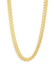 King Ice - 12MM Stainless Steel 14K Gold Miami Cuban Curb Chain-2547347
