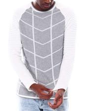 Men - Raglan Grid Pattern LS Knit-2547604