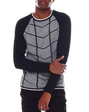 Men - Raglan Grid Pattern LS Knit-2547609