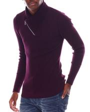 Men - Ribbed Zip Shawl Collar LS Knit-2547631