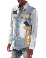 Men - Patchwork Denim Shirt-2545606
