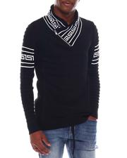 Sweatshirts & Sweaters - Greek Key Shawl Collar Ls Knit-2547594