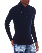 Sweatshirts & Sweaters - Ribbed Zip Shawl Collar LS Knit-2547626