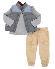 Sets - 3 Pc Puffer Vest, Long Sleeve Thermal Henley Shirt & Cargo Pants Set (2T-4T)-2546804