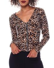Tops - Bebe Long Sleeve Zip Front Top-2548640