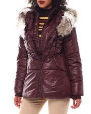 Outerwear - Hooded Padded Coat W/Contrast Trim & Seam Pockets-2546787