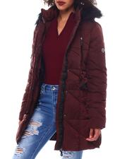 Outerwear - Heavy Belted Coat W/Faux Hood ,Spandex Thumb Hole Cuff-2546792