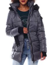 Outerwear - Belted Hooded Padded Coat W/Welt Pockets-2546819