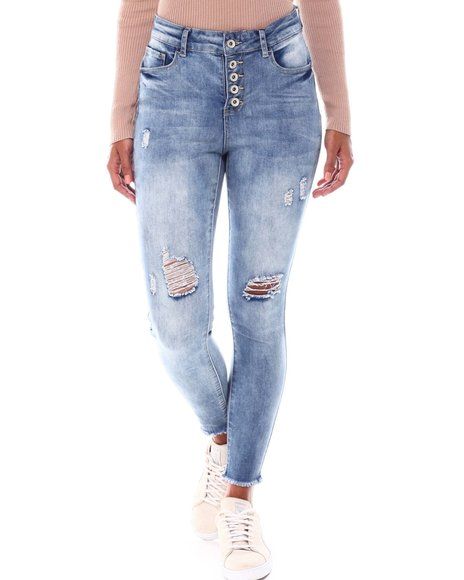 Fashion Lab - Expose Button Jean W/Rips