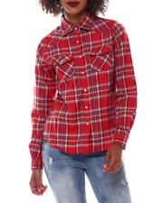 Tops - Roll Cuff Plaid Shirt-2548803