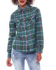 Tops - Roll Cuff Plaid Shirt-2548746