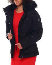 Outerwear - Twill Heavy Short Jacket W/Draw String Inside Waist Fur Trim Hood Spandex Thumb Hole Cuff-2546808