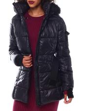 Outerwear - Belted Hooded Padded Coat W/Welt Pockets-2546814