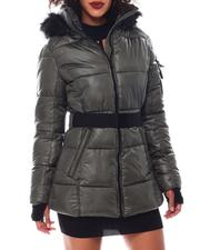 Outerwear - Belted Hooded Padded Coat W/Welt Pockets-2546824