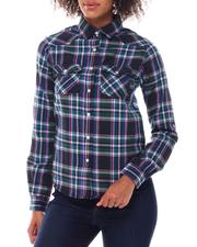 Tops - Roll Cuff Plaid Shirt-2548846