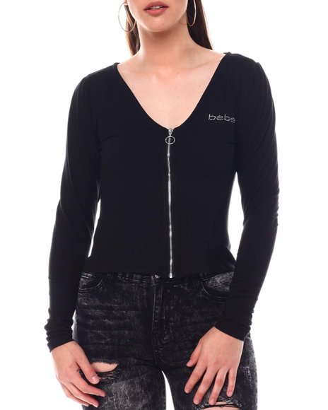 Bebe - Bebe Long Sleeve Zip Front Top