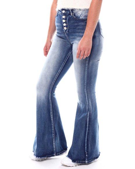 Fashion Lab - Expose Button Flare Leg Jeans