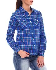 Tops - Roll Cuff Plaid Shirt-2548818