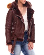 Outerwear - Shearling Faux Leather Jacket W/Hoodie-2549015