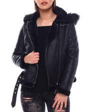 Outerwear - Shearling Faux Leather Jacket W/Hoodie-2549049