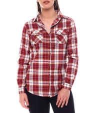 Tops - Roll Cuff Plaid Shirt-2548832