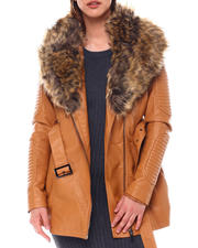 Outerwear - 3/4 Biker Jacket W/Fox Fur-2549212