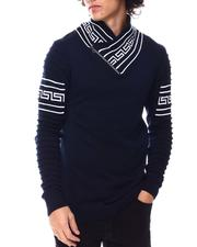 Sweatshirts & Sweaters - Greek Key Shawl Collar Ls Knit-2547599