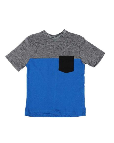Arcade Styles - Color Block Marled Crew Neck 1 Pocket Tee (8-20)