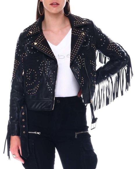 Azalea Wang - Fringe Studded Biker Jacket