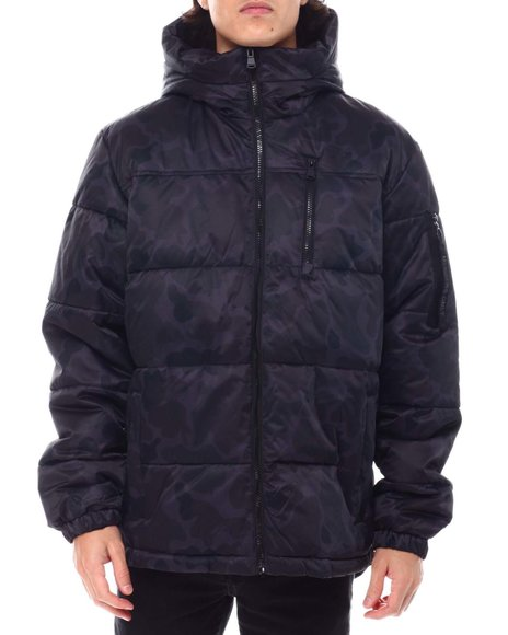 Members Only - Black Camo SHERPA LINED Puffer