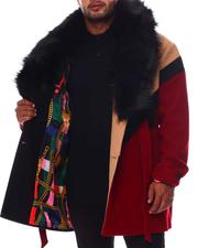 Makobi - Colorblock Wool Detachable Fur Collar Long Jacket (B&T)-2554383