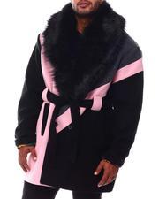 Makobi - Colorblock Wool Detachable Fur Collar Long Jacket (B&T)-2554388