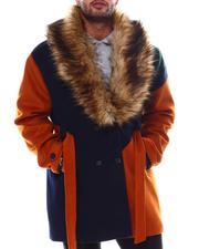 Makobi - Colorblock Wool Detachable Fur Collar Long Jacket (B&T)-2554359