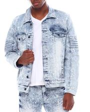 Denim Jackets - Moto Denim Jacket w Splatter Paint-2554577