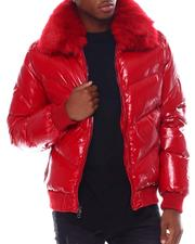 Heavy Coats - Glazed Nylon Removable Faux Fur Color Coat-2555552