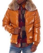 Outerwear - Glazed Nylon Removable Faux Fur Color Coat-2555569
