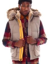 Vests - Puffer Vest w Faux Fur Trim-2555689