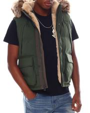 Vests - Puffer Vest w Faux Fur Trim-2555703