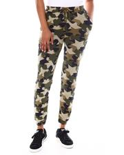 Bottoms - Star Camo Print Drawstring Side  Pkts  Cuff Hem Pants-2552633
