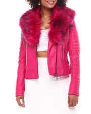 Outerwear - Biker Jacket W/Fox Fur-2552437