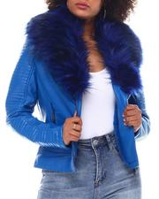 Outerwear - Biker Jacket W/Fox Fur-2552446