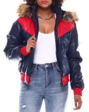 Outerwear - Ladies Padded Bomber  Jacket W/For Fur Detachable Hood-2552462
