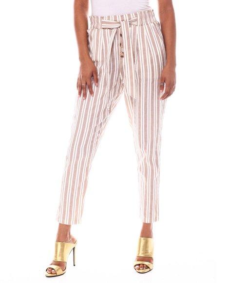 Fashion Lab - Stripe Tied Waist Band Front Detail Pant