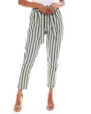 Fashion Lab - Stripe Tied Waist Band Front Detail Pant-2552698