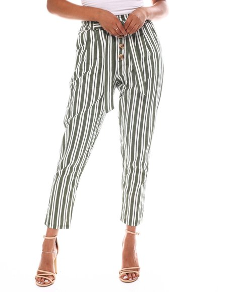 Fashion Lab - Stripe Tied Waist Band Front Detail Pant