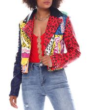 Outerwear - Faux Leather Graffiti Biker Jacket-2555926