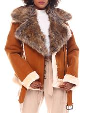Outerwear - Faux Shearling Biker Jacket W/ Faux Fur Trim & Belt-2552470