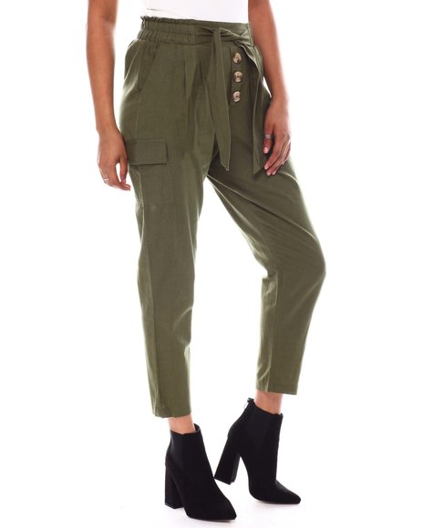 Fashion Lab - Tied Waistband Front Btn Detail Pant W/cargo Side Pkt