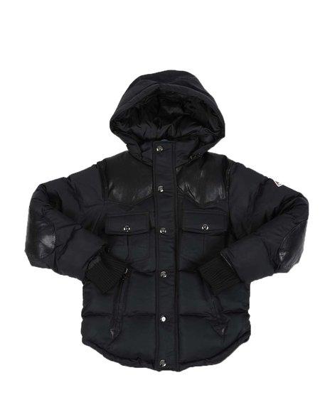 Arcade Styles - Heavy Mix Media Western Bomber Puffer Jacket W/ Hood (8-18)
