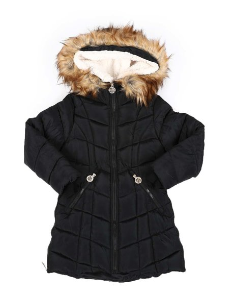 DKNY Jeans - Quilted Faux Fur Trim Hood Long Puffer Jacket (7-16)